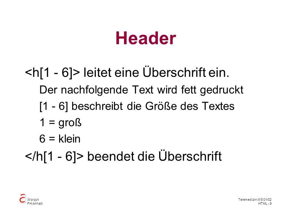 Worzyk FH Anhalt Telemedizin WS 01/02 HTML - 10 Textgestaltung Text Der Text wird als Absatz (Paragraph) dargestellt.