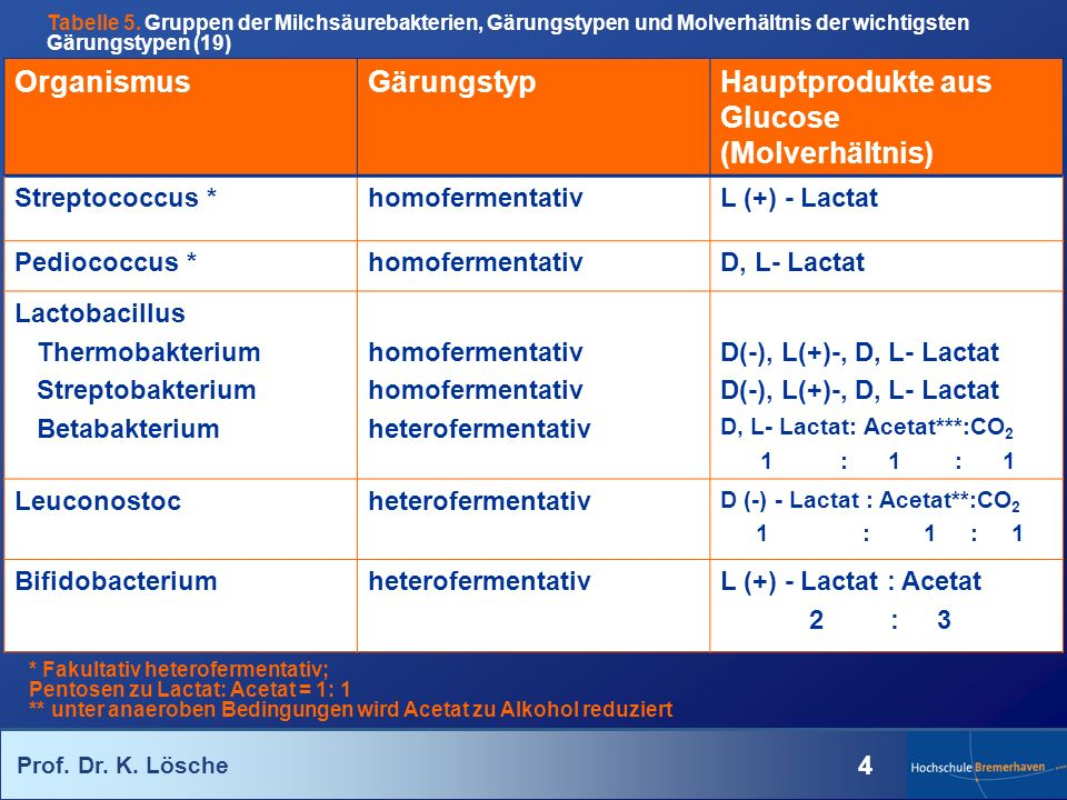 Prof. Dr. K. Lösche 4 OrganismusGärungstypHauptprodukte aus Glucose (Molverhältnis) Streptococcus *homofermentativL (+) - Lactat Pediococcus *homoferm