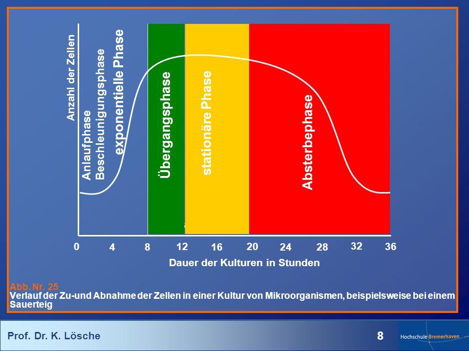 Prof. Dr. K. Lösche 8 Abb. Nr. 25 Verlauf der Zu-und Abnahme der Zellen in einer Kultur von Mikroorganismen, beispielsweise bei einem Sauerteig 16 12