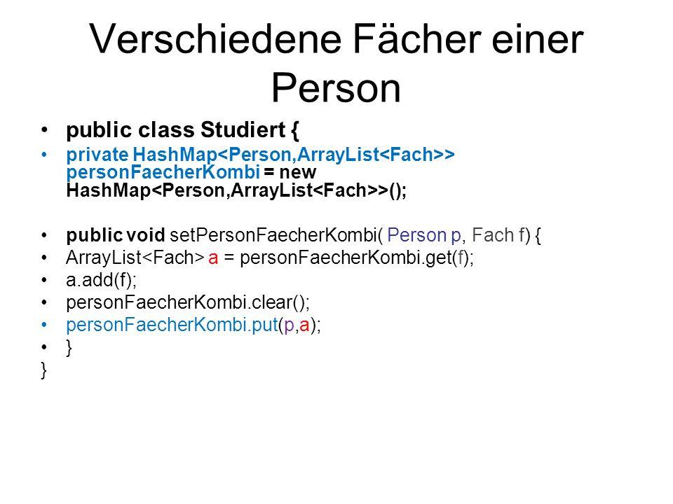 Verschiedene Fächer einer Person public class Studiert { private HashMap > personFaecherKombi = new HashMap >(); public void setPersonFaecherKombi( Pe