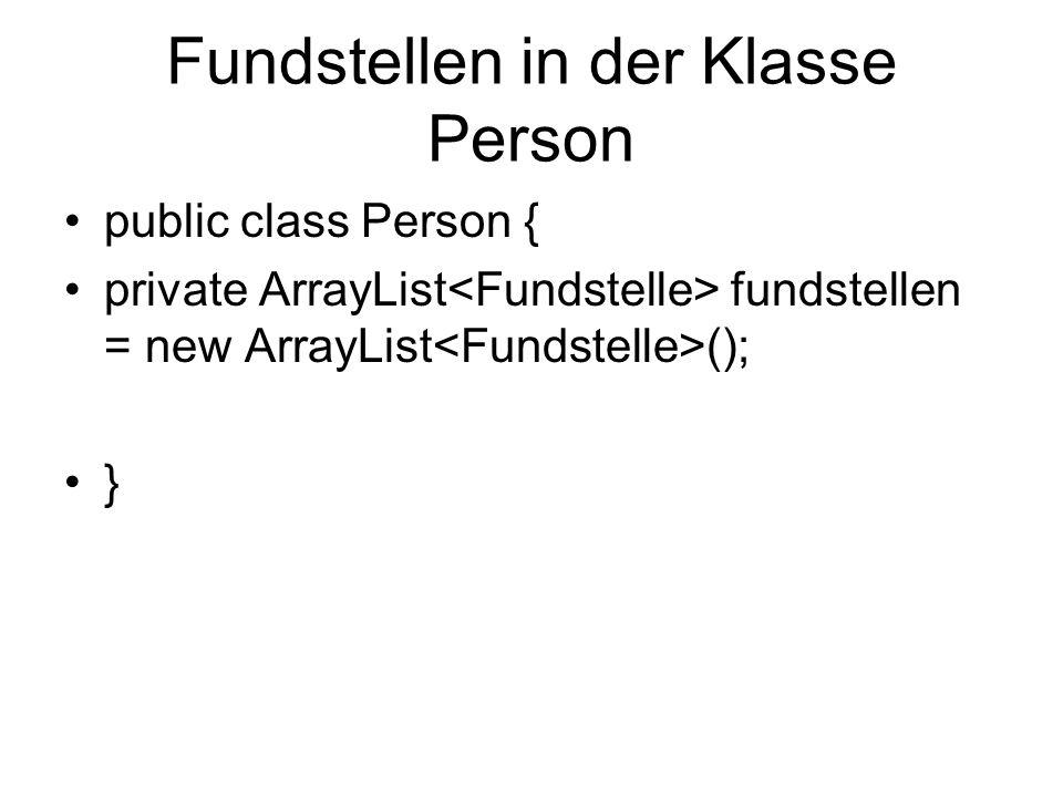 Fundstellen in der Klasse Person public class Person { private ArrayList fundstellen = new ArrayList (); }