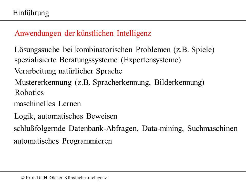 © Prof. Dr. H. Gläser, Künstliche Intelligenz Einführung Anwendungen der künstlichen Intelligenz Lösungssuche bei kombinatorischen Problemen (z.B. Spi