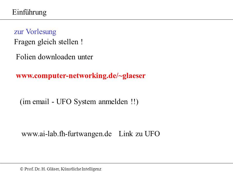 © Prof. Dr. H. Gläser, Künstliche Intelligenz Einführung Folien downloaden unter www.computer-networking.de/~glaeser zur Vorlesung Fragen gleich stell