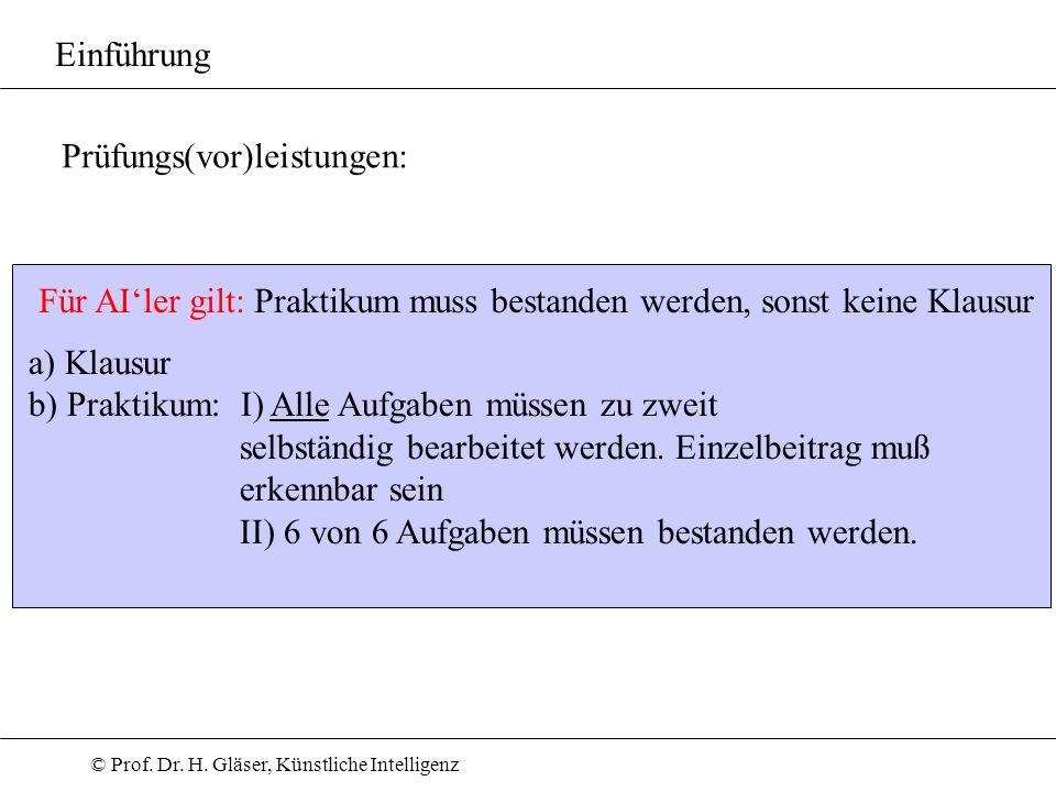 © Prof. Dr. H. Gläser, Künstliche Intelligenz Einführung a) Klausur b) Praktikum: I) Alle Aufgaben müssen zu zweit selbständig bearbeitet werden. Einz