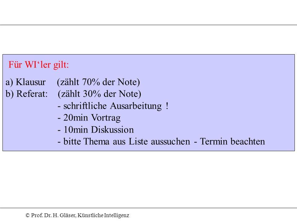 © Prof. Dr. H. Gläser, Künstliche Intelligenz a) Klausur (zählt 70% der Note) b) Referat: (zählt 30% der Note) - schriftliche Ausarbeitung ! - 20min V