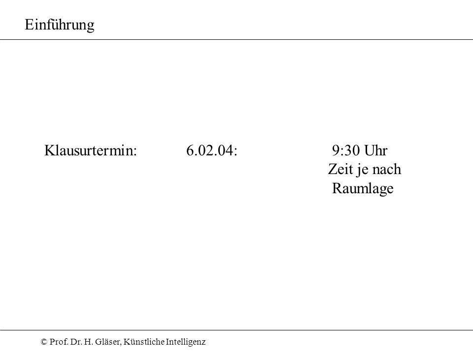© Prof. Dr. H. Gläser, Künstliche Intelligenz Klausurtermin: 6.02.04: 9:30 Uhr Zeit je nach Raumlage Einführung
