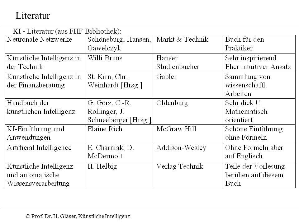 © Prof. Dr. H. Gläser, Künstliche Intelligenz Literatur KI - Literatur (aus FHF Bibliothek):