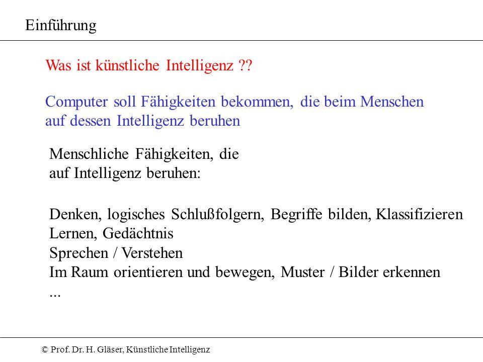 © Prof. Dr. H. Gläser, Künstliche Intelligenz Einführung Was ist künstliche Intelligenz ?? Computer soll Fähigkeiten bekommen, die beim Menschen auf d