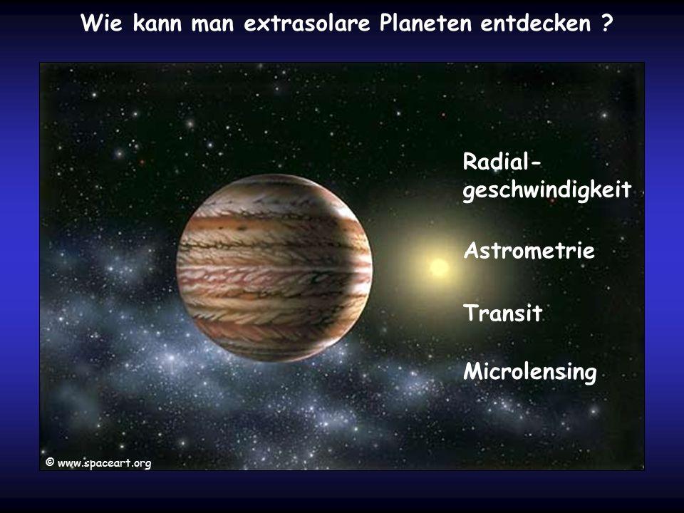 Wie kann man extrasolare Planeten entdecken ? Astrometrie Microlensing Transit Radial- geschwindigkeit © www.spaceart.org