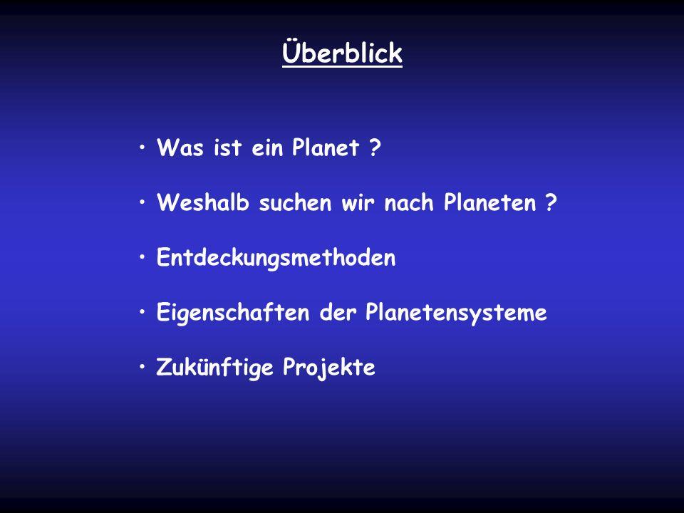 Überblick Was ist ein Planet ? Weshalb suchen wir nach Planeten ? Entdeckungsmethoden Eigenschaften der Planetensysteme Zukünftige Projekte