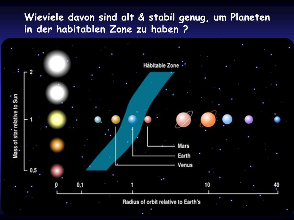 Wieviele davon sind alt & stabil genug, um Planeten in der habitablen Zone zu haben ?