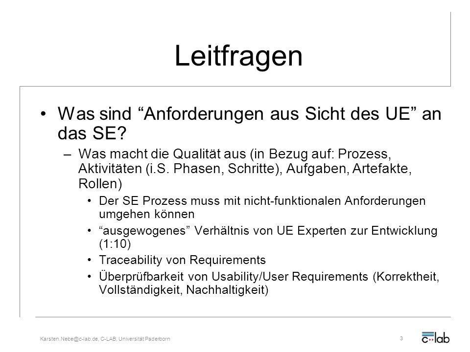 Karsten.Nebe@c-lab.de, C-LAB, Universität Paderborn3 Leitfragen Was sind Anforderungen aus Sicht des UE an das SE? –Was macht die Qualität aus (in Bez