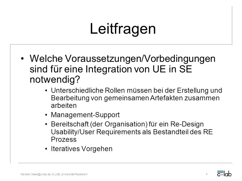 Karsten.Nebe@c-lab.de, C-LAB, Universität Paderborn4 Leitfragen Welche Voraussetzungen/Vorbedingungen sind für eine Integration von UE in SE notwendig