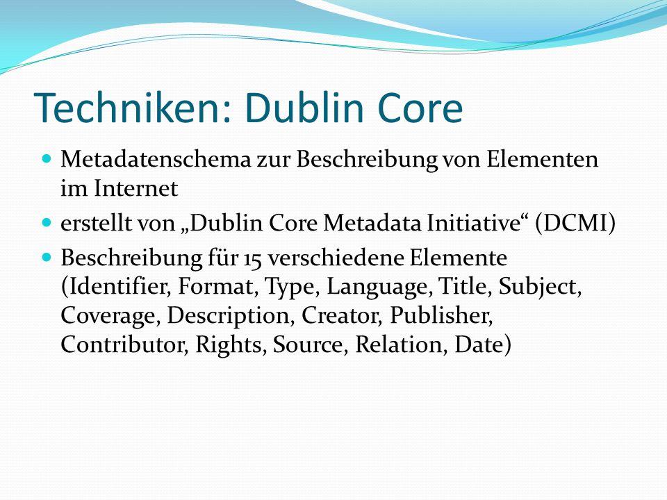 Techniken: Dublin Core Metadatenschema zur Beschreibung von Elementen im Internet erstellt von Dublin Core Metadata Initiative (DCMI) Beschreibung für