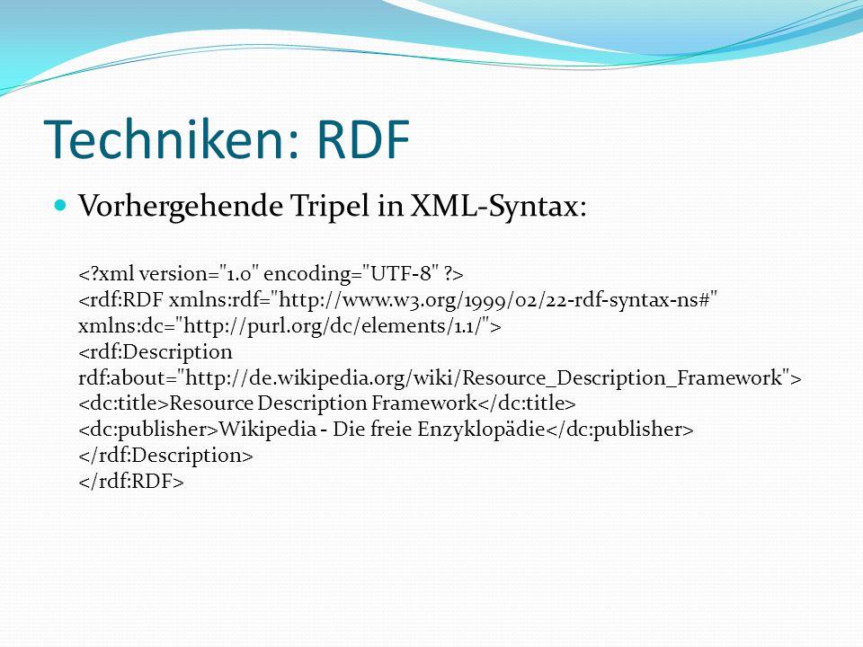 Techniken: RDF Vorhergehende Tripel in XML-Syntax: Resource Description Framework Wikipedia - Die freie Enzyklopädie