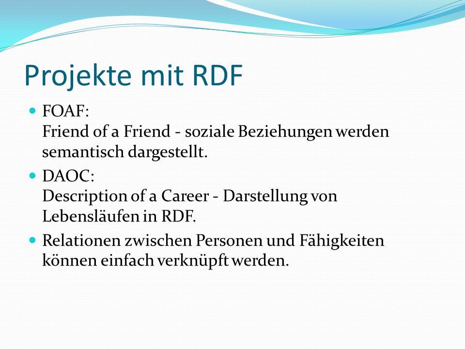 Projekte mit RDF FOAF: Friend of a Friend - soziale Beziehungen werden semantisch dargestellt. DAOC: Description of a Career - Darstellung von Lebensl