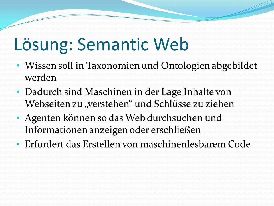 Lösung: Semantic Web Wissen soll in Taxonomien und Ontologien abgebildet werden Dadurch sind Maschinen in der Lage Inhalte von Webseiten zu verstehen