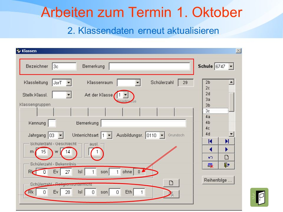 Arbeiten zum Termin 1. Oktober 2. Klassendaten erneut aktualisieren