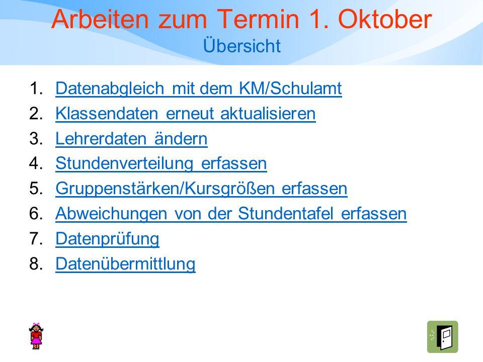 Arbeiten zum Termin 1. Oktober Übersicht 1.Datenabgleich mit dem KM/SchulamtDatenabgleich mit dem KM/Schulamt 2.Klassendaten erneut aktualisierenKlass