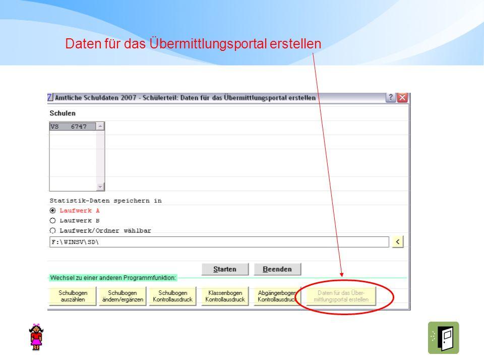 Daten für das Übermittlungsportal erstellen