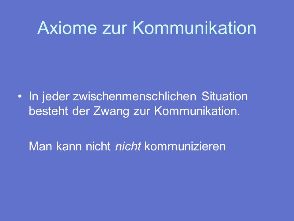 Axiome zur Kommunikation Jede Kommunikation enthält Inhalts- und Beziehungsaspekte Inhaltsaspekt = neue Sachinformation Beziehungsaspekt = Verhältnis zueinander