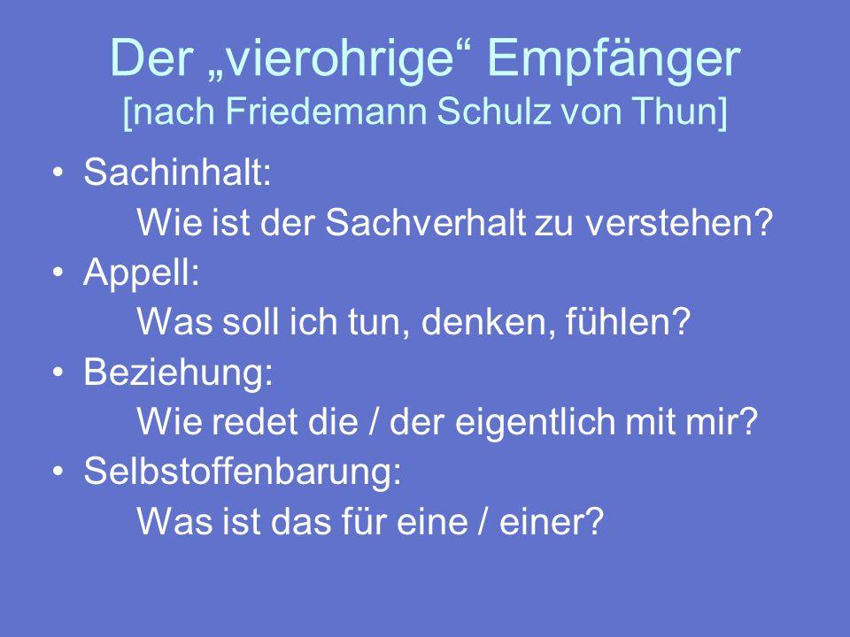 Der vierohrige Empfänger [nach Friedemann Schulz von Thun] Sachinhalt: Wie ist der Sachverhalt zu verstehen? Appell: Was soll ich tun, denken, fühlen?