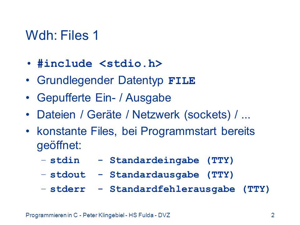 Programmieren in C - Peter Klingebiel - HS Fulda - DVZ2 Wdh: Files 1 #include Grundlegender Datentyp FILE Gepufferte Ein- / Ausgabe Dateien / Geräte / Netzwerk (sockets) /...