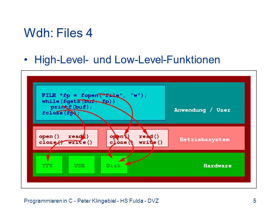 Programmieren in C - Peter Klingebiel - HS Fulda - DVZ6 Wdh: Files 5 Low-Level-Funktionen Systemcalls Datentyp int Filedeskriptor / Filehandle Index in der Filetabelle des Prozesses Pufferung von Gerätetreiber abhängig Dateien / Geräte / Netzwerk (sockets) /...