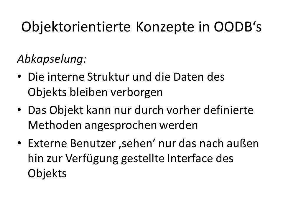 Objektorientierte Konzepte in OODBs Abkapselung: Die interne Struktur und die Daten des Objekts bleiben verborgen Das Objekt kann nur durch vorher def