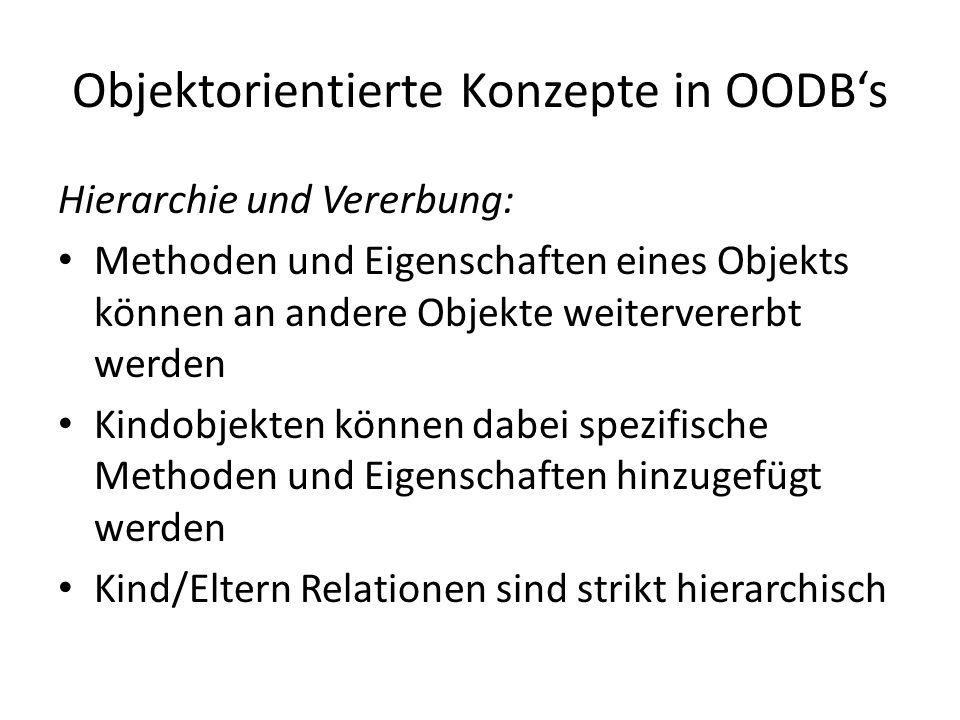 Objektorientierte Konzepte in OODBs Hierarchie und Vererbung: Methoden und Eigenschaften eines Objekts können an andere Objekte weitervererbt werden K