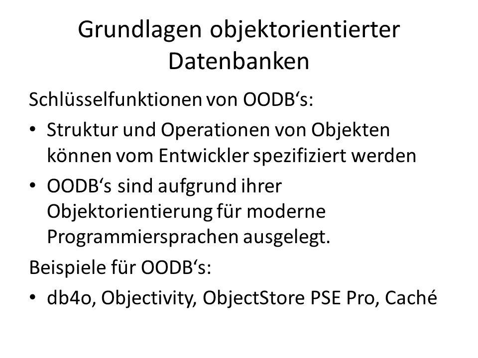 Grundlagen objektorientierter Datenbanken Schlüsselfunktionen von OODBs: Struktur und Operationen von Objekten können vom Entwickler spezifiziert werd