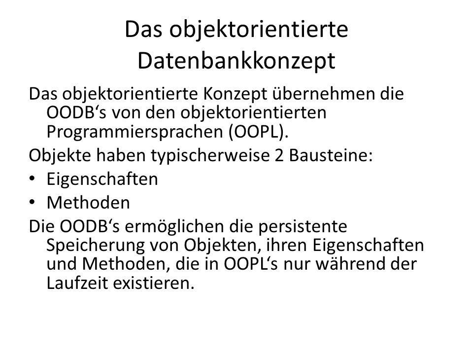 Objektorientierte Konzepte in OODBs Abkapselung: Die interne Struktur und die Daten des Objekts bleiben verborgen Das Objekt kann nur durch vorher definierte Methoden angesprochen werden Externe Benutzer sehen nur das nach außen hin zur Verfügung gestellte Interface des Objekts