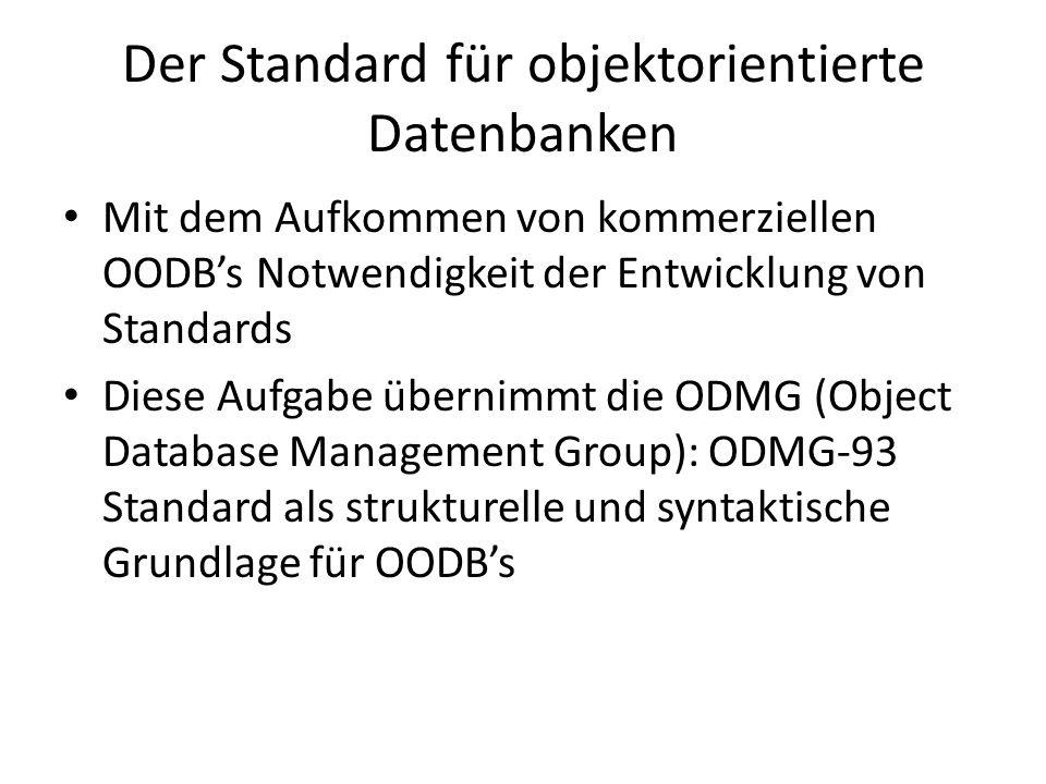Der Standard für objektorientierte Datenbanken Mit dem Aufkommen von kommerziellen OODBs Notwendigkeit der Entwicklung von Standards Diese Aufgabe übe