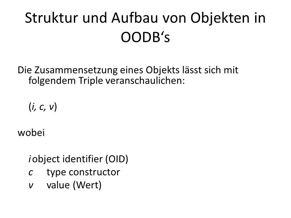Der type constructor Atom: enthält einen von der Datenbank unterstützten Grundwert Set: der Wert eines Objekts ist ein Satz von OIDs anderer Objekte v = {i 1,i 2,...,i n } Tuple: Der Wert besteht aus lokalen Variablen, denen jeweils eine OID eines anderen Objekts zugeordnet ist v = {a 1 :i 1, a 2 :i 2,..., a n :i n } Weitere type constructors: List, Array, Bag