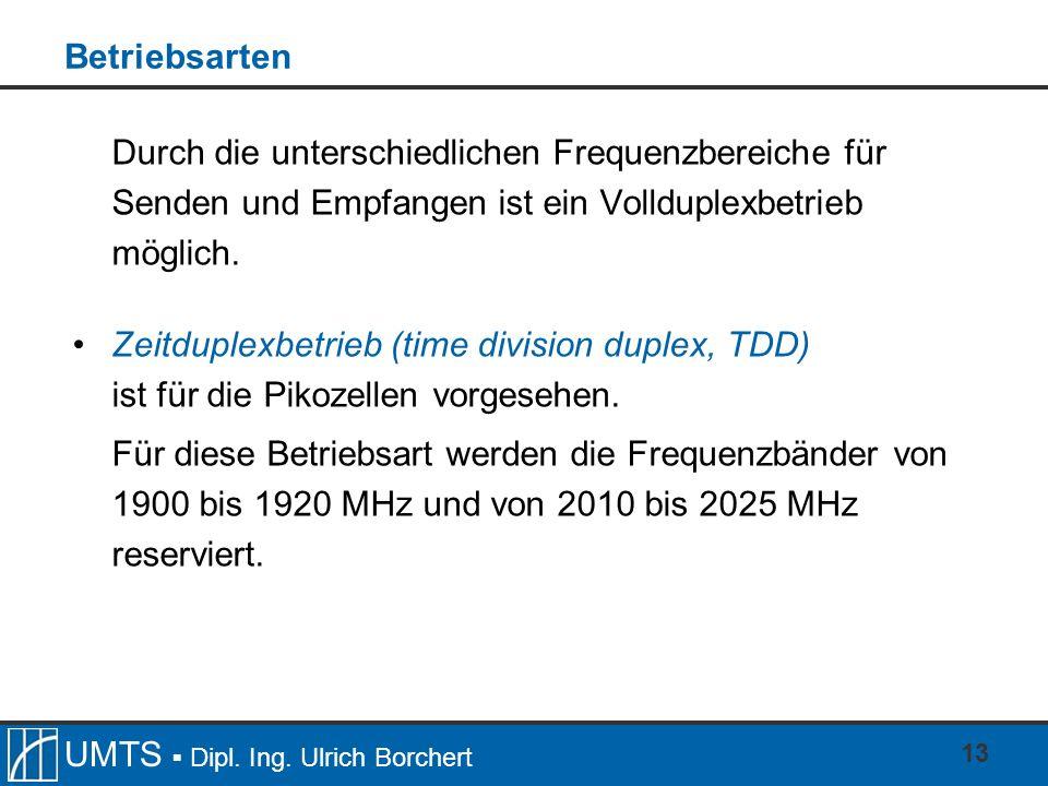 UMTS Dipl. Ing. Ulrich Borchert 13 Betriebsarten Durch die unterschiedlichen Frequenzbereiche für Senden und Empfangen ist ein Vollduplexbetrieb mögli