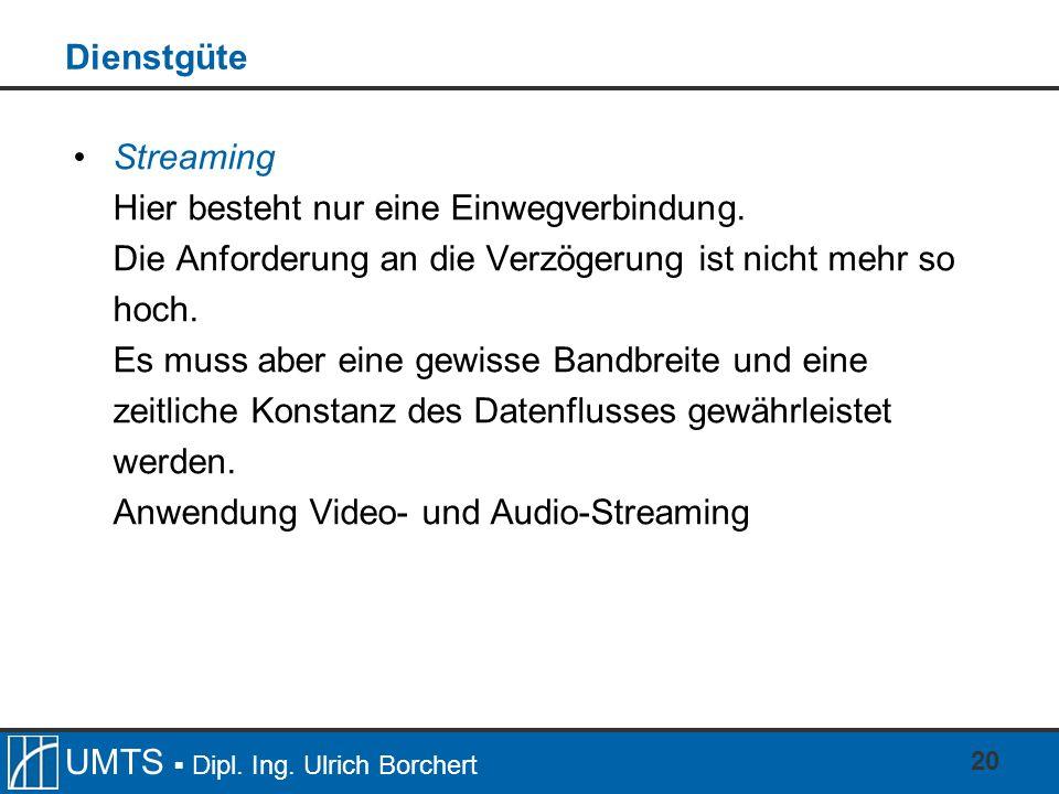 UMTS Dipl. Ing. Ulrich Borchert 20 Dienstgüte Streaming Hier besteht nur eine Einwegverbindung. Die Anforderung an die Verzögerung ist nicht mehr so h
