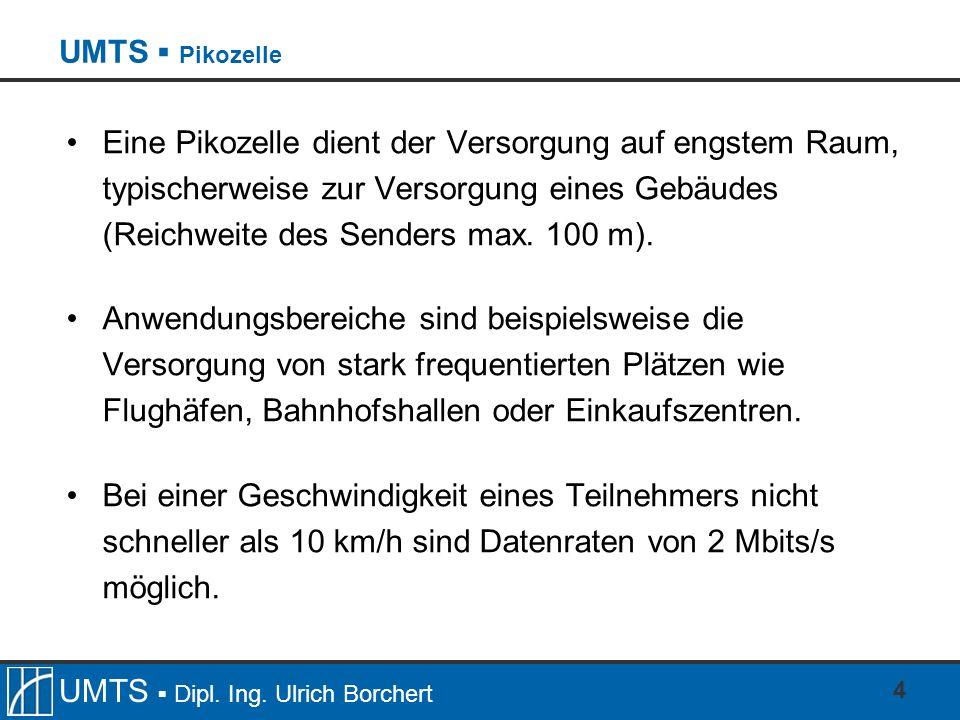 UMTS Dipl. Ing. Ulrich Borchert 4 UMTS Pikozelle Eine Pikozelle dient der Versorgung auf engstem Raum, typischerweise zur Versorgung eines Gebäudes (R