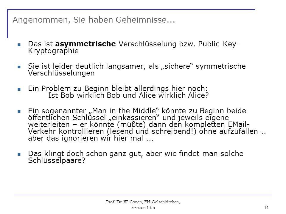 Prof. Dr. W. Conen, FH Gelsenkirchen, Version 1.0b 11 Angenommen, Sie haben Geheimnisse... Das ist asymmetrische Verschlüsselung bzw. Public-Key- Kryp