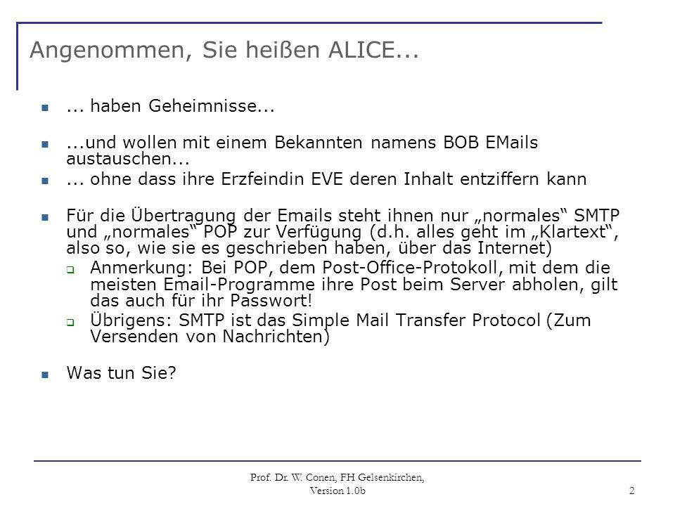 Prof. Dr. W. Conen, FH Gelsenkirchen, Version 1.0b 2 Angenommen, Sie heißen ALICE...... haben Geheimnisse......und wollen mit einem Bekannten namens B