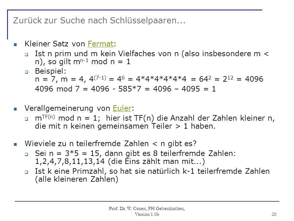Prof. Dr. W. Conen, FH Gelsenkirchen, Version 1.0b 20 Zurück zur Suche nach Schlüsselpaaren... Kleiner Satz von Fermat:Fermat Ist n prim und m kein Vi