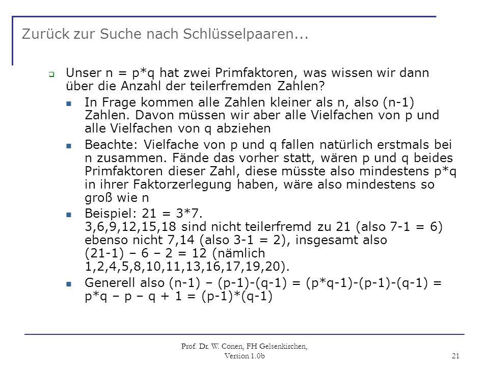 Prof. Dr. W. Conen, FH Gelsenkirchen, Version 1.0b 21 Zurück zur Suche nach Schlüsselpaaren... Unser n = p*q hat zwei Primfaktoren, was wissen wir dan