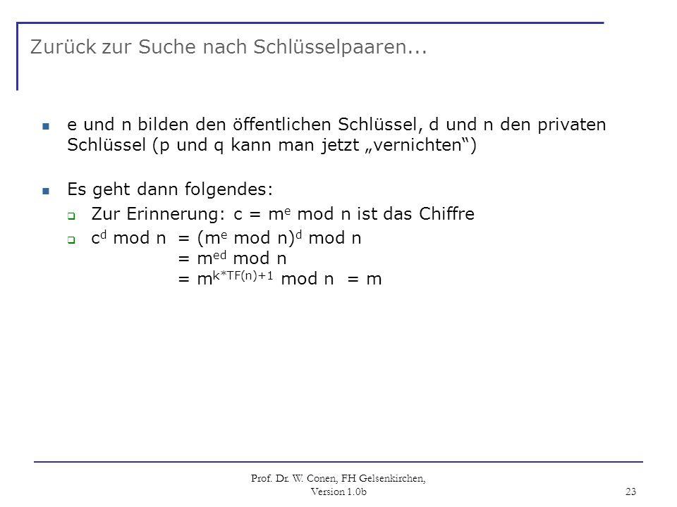 Prof. Dr. W. Conen, FH Gelsenkirchen, Version 1.0b 23 Zurück zur Suche nach Schlüsselpaaren... e und n bilden den öffentlichen Schlüssel, d und n den