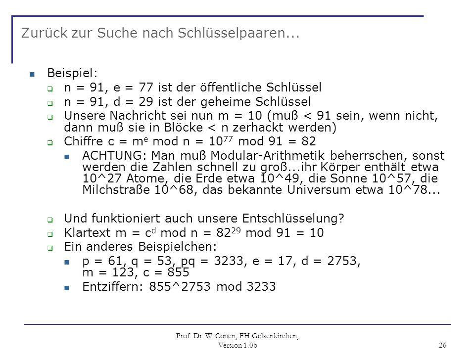 Prof. Dr. W. Conen, FH Gelsenkirchen, Version 1.0b 26 Zurück zur Suche nach Schlüsselpaaren... Beispiel: n = 91, e = 77 ist der öffentliche Schlüssel