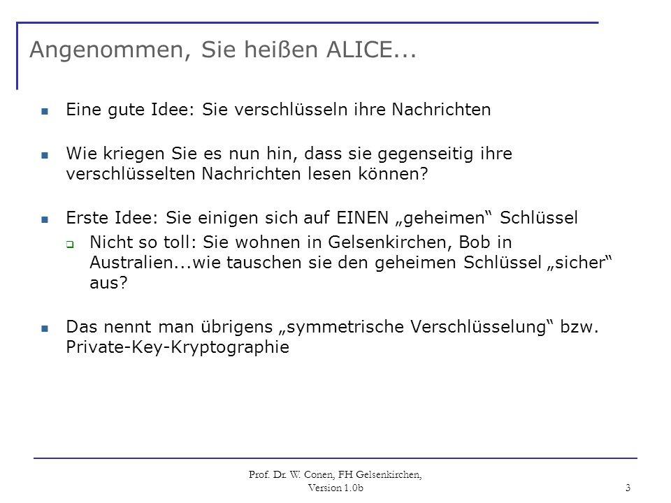 Prof. Dr. W. Conen, FH Gelsenkirchen, Version 1.0b 3 Angenommen, Sie heißen ALICE... Eine gute Idee: Sie verschlüsseln ihre Nachrichten Wie kriegen Si