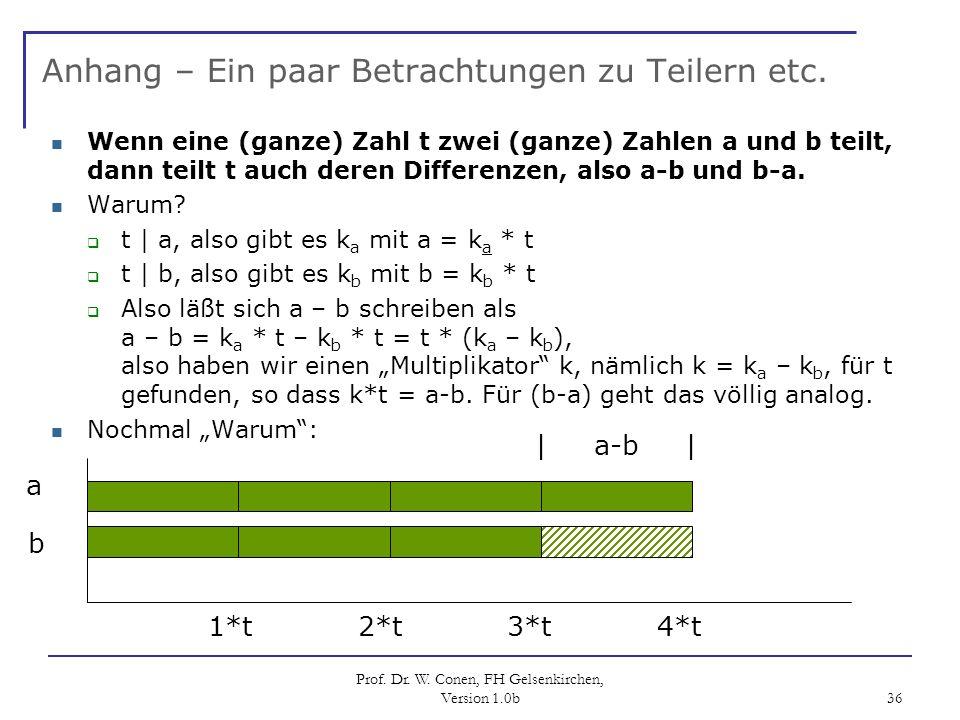 Prof. Dr. W. Conen, FH Gelsenkirchen, Version 1.0b 36 Anhang – Ein paar Betrachtungen zu Teilern etc. Wenn eine (ganze) Zahl t zwei (ganze) Zahlen a u