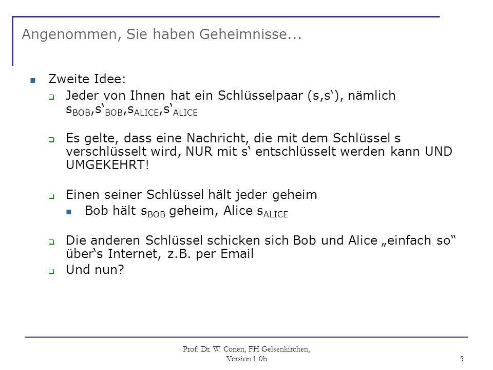 Prof. Dr. W. Conen, FH Gelsenkirchen, Version 1.0b 5 Angenommen, Sie haben Geheimnisse... Zweite Idee: Jeder von Ihnen hat ein Schlüsselpaar (s,s), nä