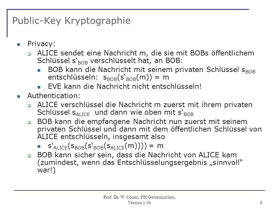 Prof. Dr. W. Conen, FH Gelsenkirchen, Version 1.0b 8 Public-Key Kryptographie Privacy: ALICE sendet eine Nachricht m, die sie mit BOBs öffentlichem Sc