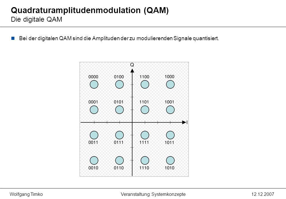Wolfgang Timko12.12.2007Veranstaltung: Systemkonzepte Quadraturamplitudenmodulation (QAM) Die digitale QAM Bei der digitalen QAM sind die Amplituden d