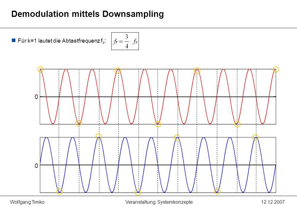 Wolfgang Timko12.12.2007Veranstaltung: Systemkonzepte Für k=1 lautet die Abtastfrequenz f s : 0 0 Demodulation mittels Downsampling