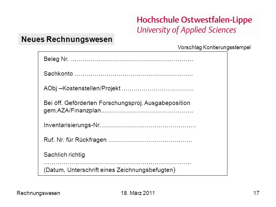 Rechnungswesen18.März 201117 Neues Rechnungswesen Beleg Nr.